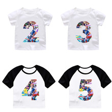 ZSIIBO Boy Girl Happy Birthday Pikachu Cartoon Number 29th T Shirts Kids Go Top Custom Shirt Children Clothes Dropshipping
