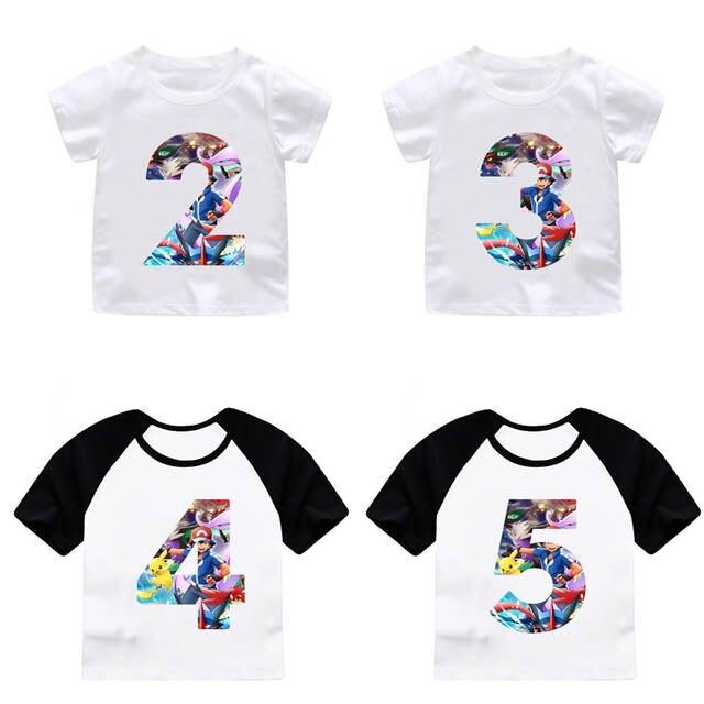 Online Shop ZSIIBO Boy Girl Happy Birthday Pikachu Cartoon Number 29th T Shirts Kids Go Top Custom Shirt Children Clothes Dropshipping