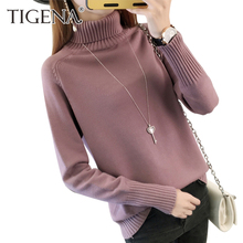 TIGENA Thick Warm Turtleneck Sweater Women 2017 Autumn Winter Tricot Jumper Women Sweaters And Pullovers Female Knitted Tops
