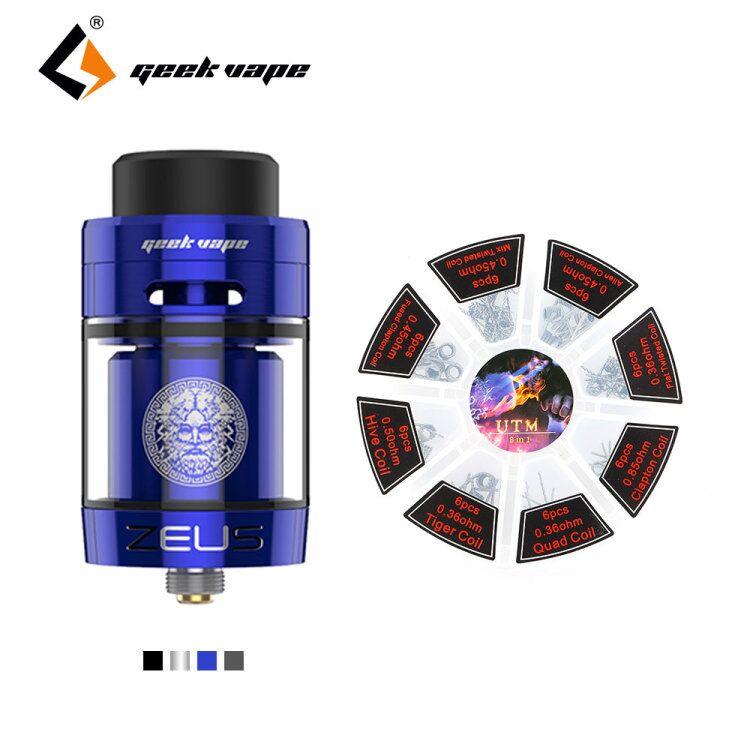 New Original GeekVape Zeus Double RTA 4 ml Capacité 26mm avec cadeau 8 dans 1 bobine ensemble Unique/Double Bobine Bâtiment E Cig Réservoir vaporisateur