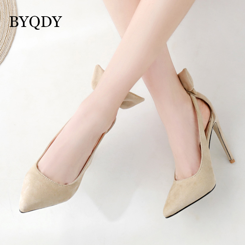 BYQDY Summer 2019 Fashion Women's Shoes Pointed Toe Stilettos <font><b>Heels</b></font> Butterfly-knot Pumps Slip-on Stripper Shoes <font><b>size</b></font> 35-40 image