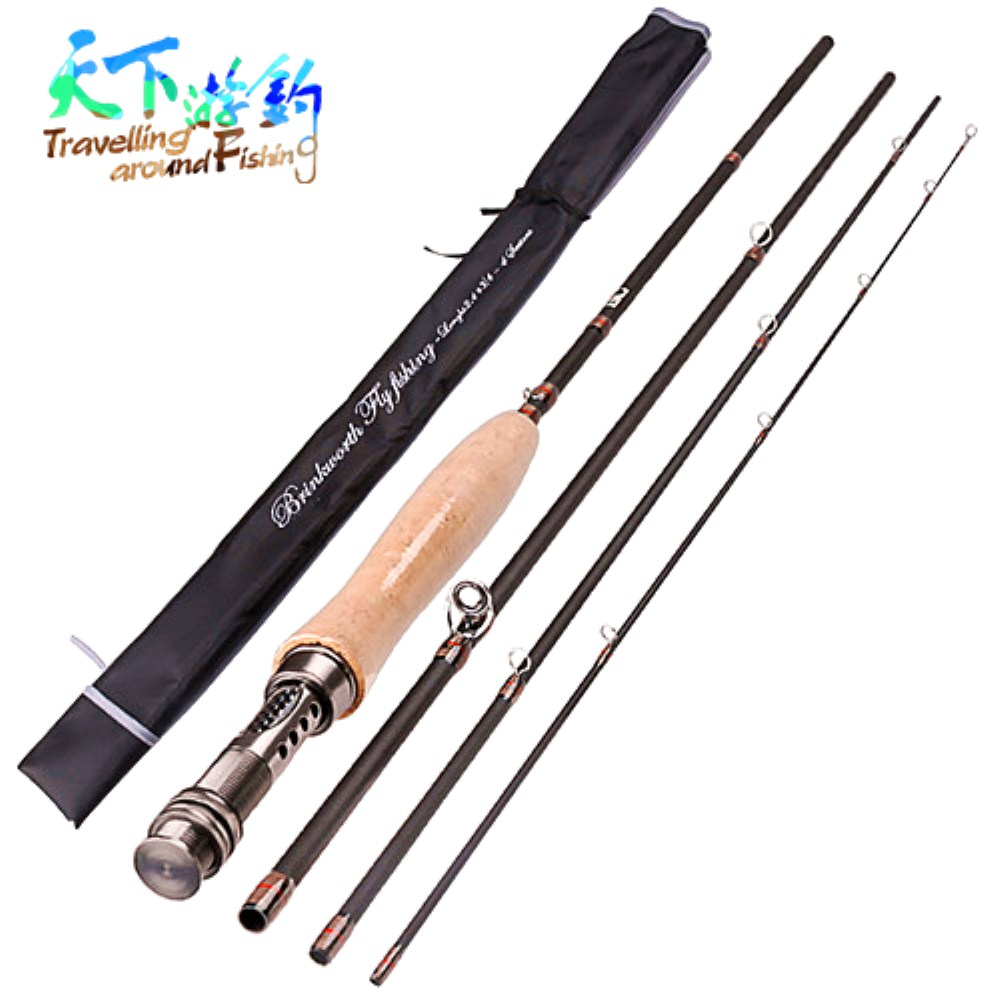 2 4m 2 7m Fly Fishing Rod 4 Section Medium Power Carbon Fiber Lure Rod for Saltwater Wooden Handle Fly Fishing Pole Pesca Peche in Fishing Rods from Sports Entertainment