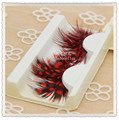 New 3 pairs/lot red dot natural feather eyelash extension stage performance exaggerated red fashion makeup  feather eyelash