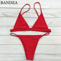 2016 Women Sexy Mini Bikini Micro Swimsuit Strappy Bikini Bright Color Biquini Brazilian Bottom Maillot De