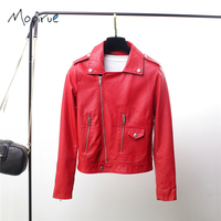 Winter Red Women PU Leather Jacket Embroidered Coat Long Sleeve Turn-down Collar Female Moto Jacket Coat