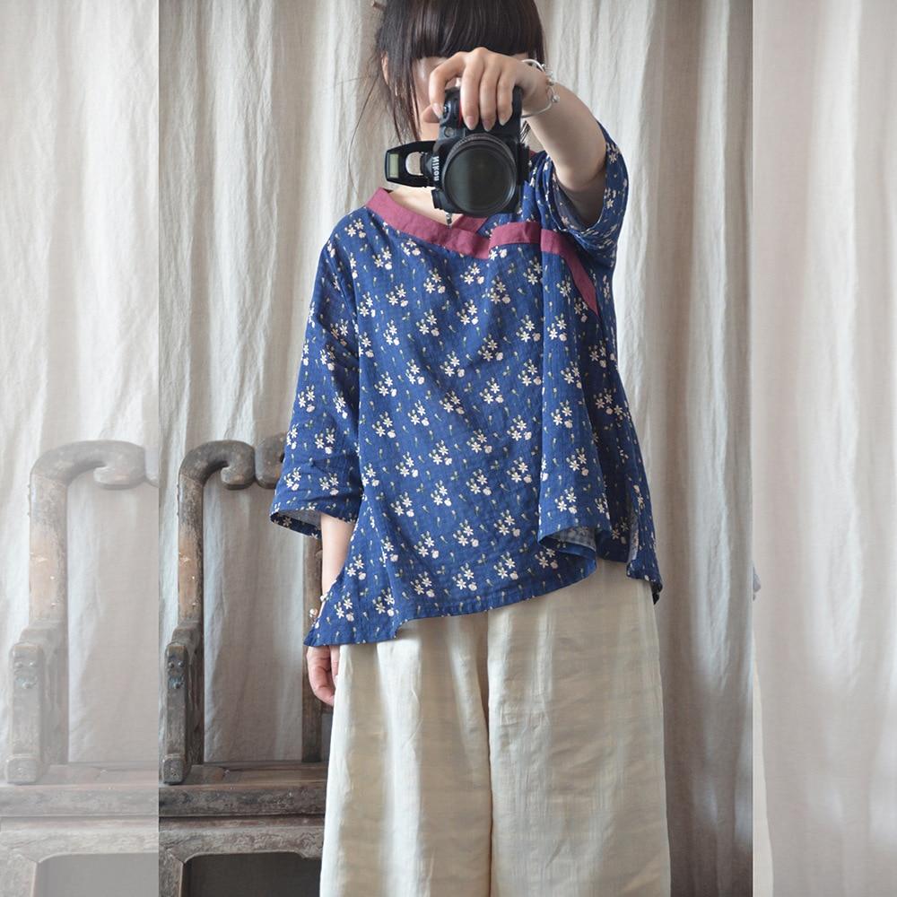 Women Printed Cotton Linen Tops Ladies Vintage Retro Print T-shirts Tees Shirt Female Cotton Flax Shirt Summer