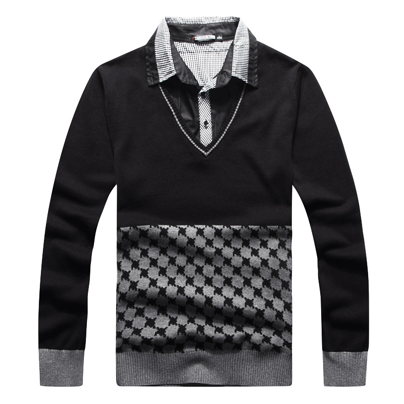 Men Pullover Knitwear Patchwork Sweater Long Sleeve Shirt England Style Knitted Sweaters Casual Dress Brand Knitwear Pull Homme