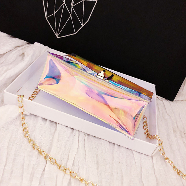 Women Transparent Bag Clear PVC Jelly Small Tote Messenger Bags Laser Holographic Shoulder Bags Female Lady Sac Femme Bandoulier 4