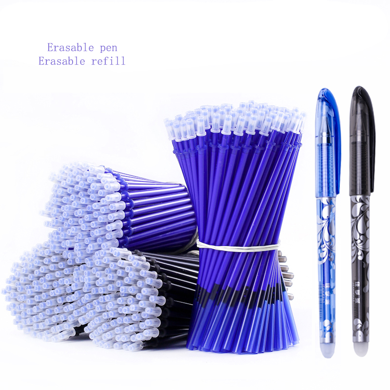 20 Pcs/Set Erasable Pen Refill Gel Pen 0.5mm Rod Magic Blue Black Ink Erasable Pen School Stationery Writing Tool Gift