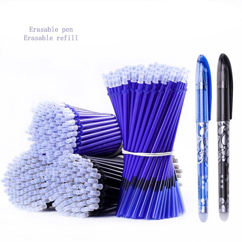 20 Pcs/Set Erasable Pen Refill Gel Pen 0.5mm Rod Magic Blue Black Ink Erasable Pen School Stationery Writing Tool Gift