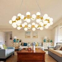 Modern minimalist personality chandelier creative art dining room fashion glass ball lamp Nordic bar circular light led lighting