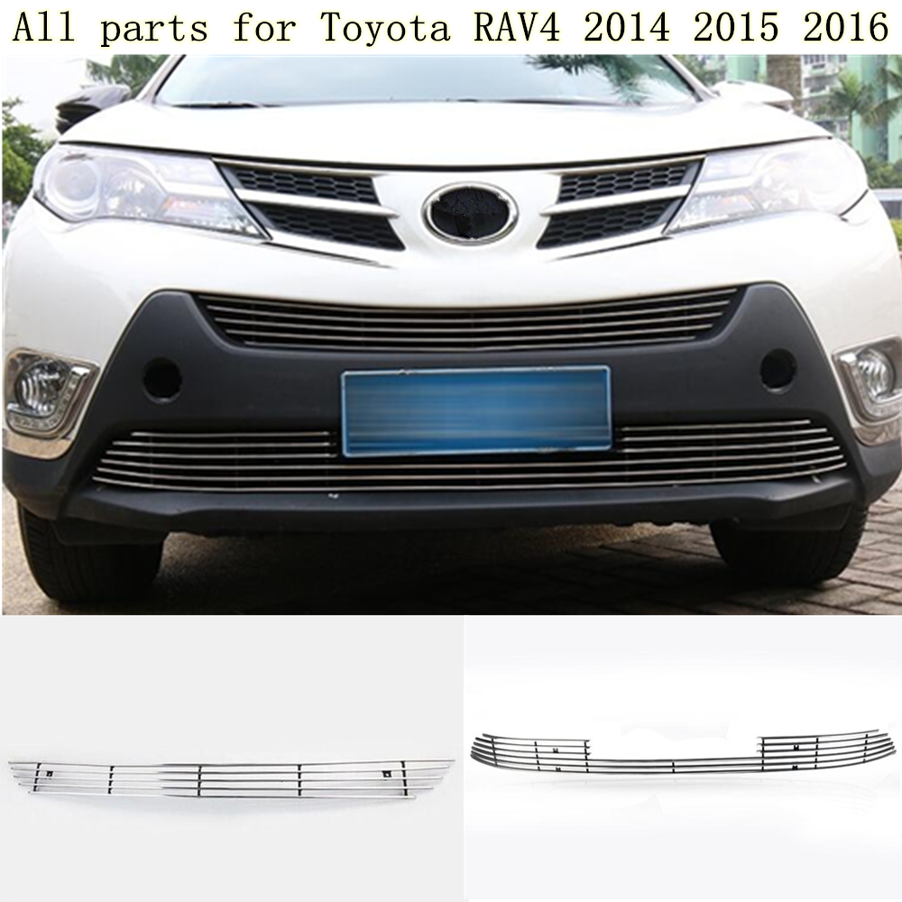 Hot for Toyota RAV4 2014 2015 2016 car body stainless steel trim head Front bottom Grid Grill Grille Modling Strip frame for toyota corolla altis 2014 2015 2016 car body styling cover detector abs chrome trim front up grid grill grille hoods 1pcs