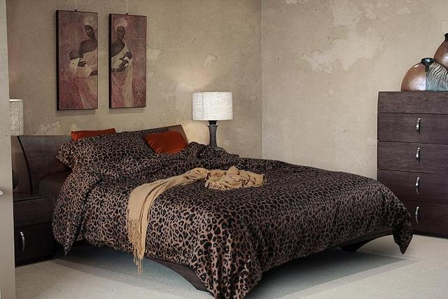 Luxury Black Leopard Print Bedding Sets Egyptian Cotton Sheets King