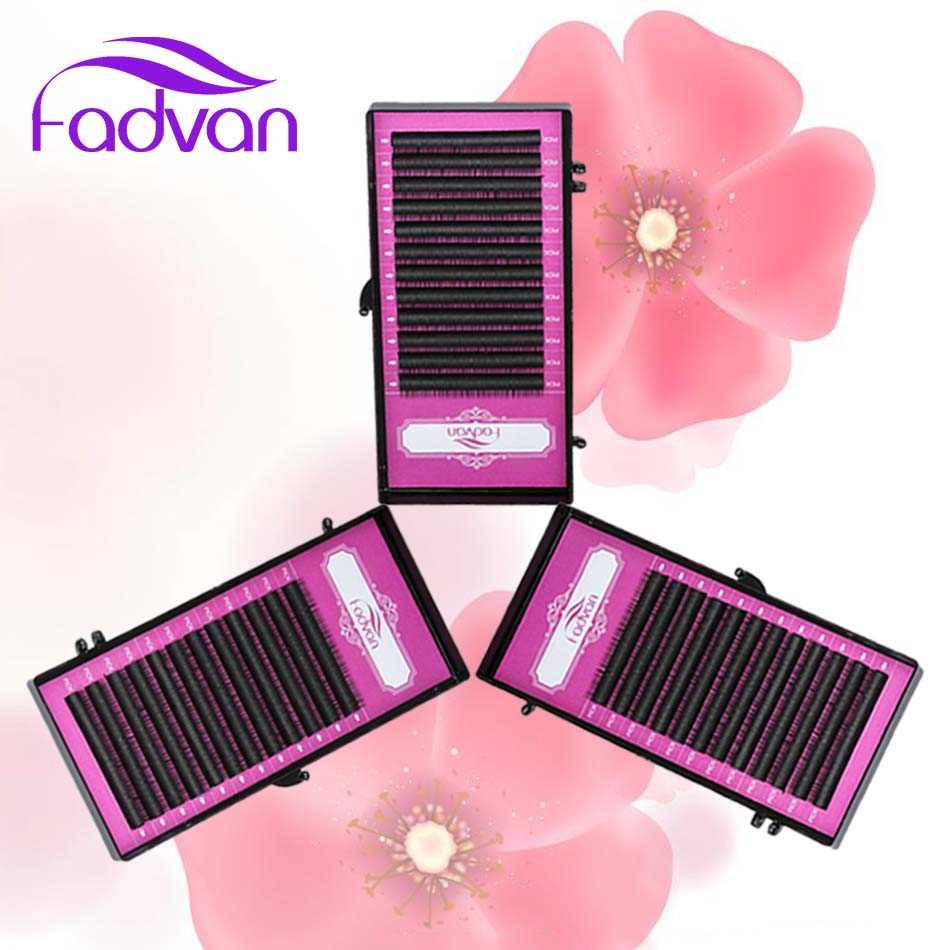 3 tray/set Fadvan High Quality Eyelash Extensions Wholesale Price Synthetic False Makeup Eye Lashes Grafting Natural Long Lash