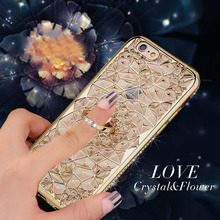 New 3D Rugged Flower Glitter Diamonds Phone Back Plating Case For iPhone 7 7plus TPU Soft Ring Holder  Cover  iPhone 6 6S Plus