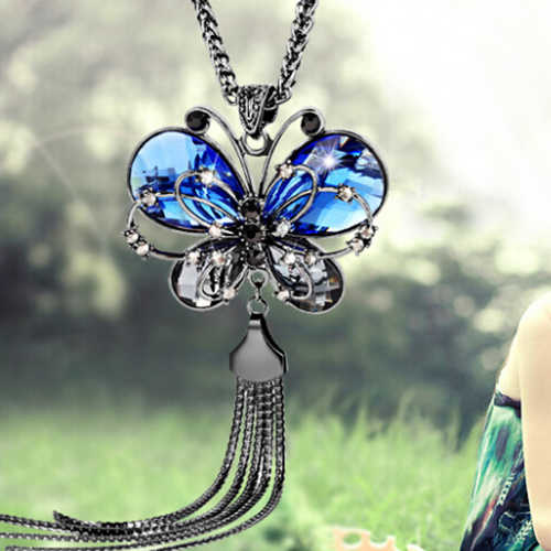 New Arrival Hot  Women's Butterfly Pendant Tassels Rhinestone Long Sweater Chain Necklace Jewelry Fashion Leader' Choice