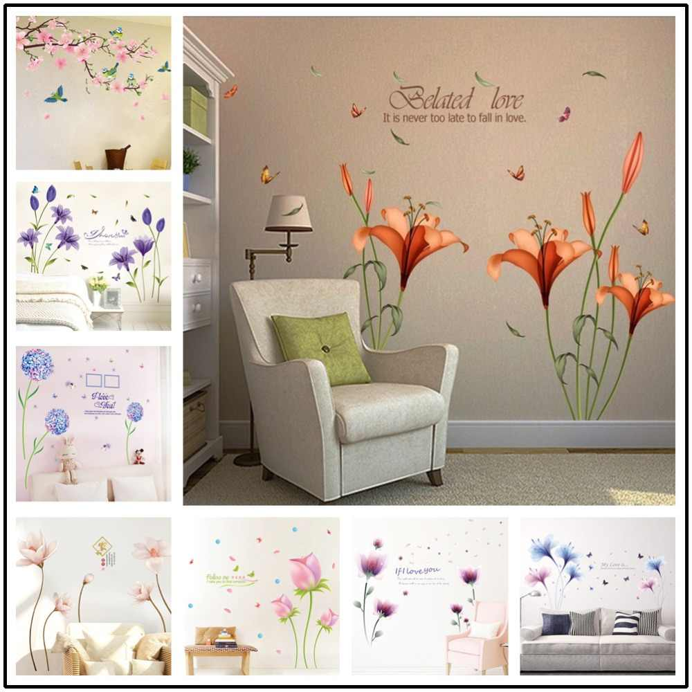 a21524b81 Blue Flower Lily Ball Dandelion DIY Removable Wall Sticker Living Room  Entrance Bedroom TV Wall