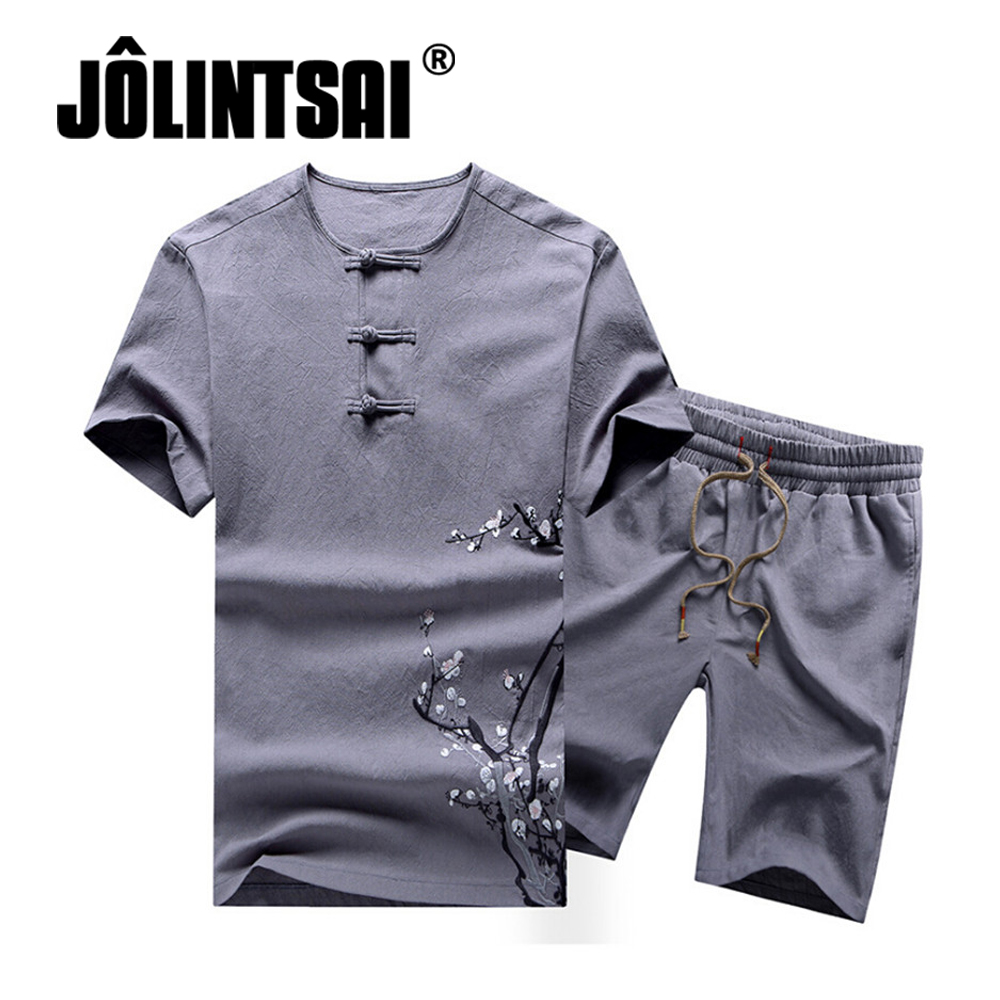 2018 Summer Sets Chinese Style Mens Sportswear 2 Piece Set Short Sleeve Men Tops+Shorts Tracksuit Men Clothing Plus Size M-4XL