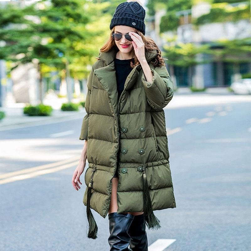 Woxingwosu autumn winters European trend young warm large profile long tassels down coat whit big yards