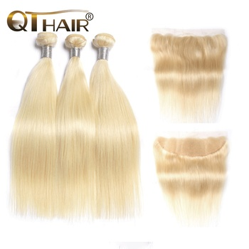 613 Blonde Bundles With Frontal Ear To Ear Straight Human Hair Bundles Blonde Malaysian Hair Weave 3 Bundles with Closure QT