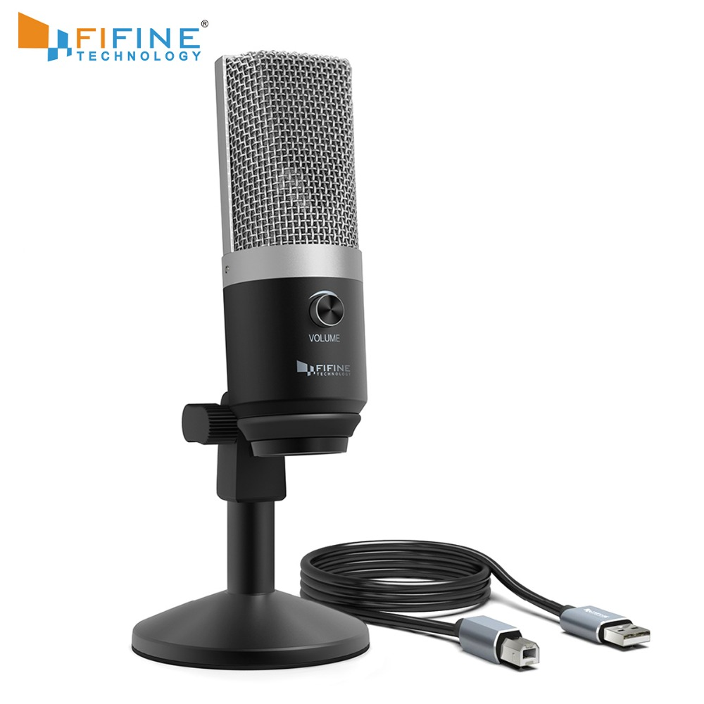 FIFINE USB condenser microphone for computer professional recording MIC for Youtube Skype meeting game one line