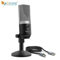 Fifine usb microfone condensador para computador profissional microfone de gravação para youtube skype jogo de reunião uma linha de ensino 670 1|Microfones|   -