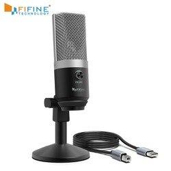 Micrófono de condensador FIFINE USB para computadora, micrófono de grabación profesional para Youtube, juego de reunión de Skype, enseñanza de una línea 670-1