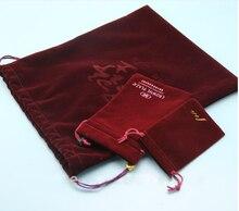100 unids/lote Bolso pequeño joyería bolsa de regalo de terciopelo con cordón bolsa logotipo personalizado bolsa de gadget