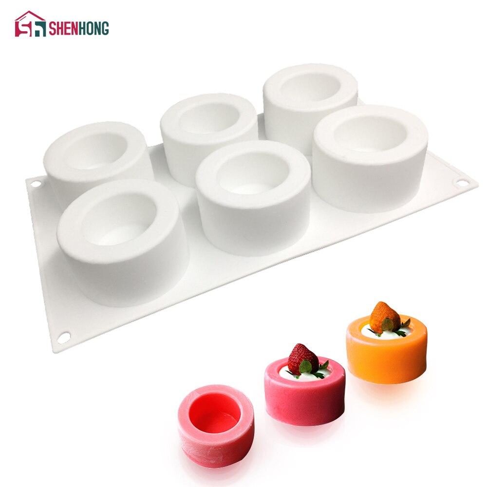 SHENHONG 6 Holes Pudding Cup Art Cake Mould Pan 3D Silicone Mold Mousse Silikonowe Chocolate Moule Baking