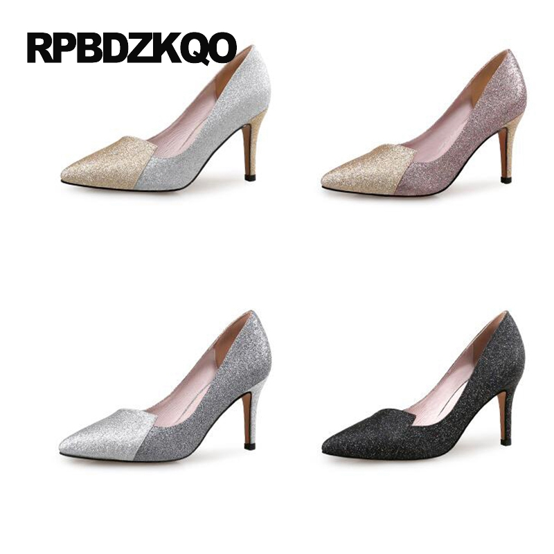 Sequin Black Thin Small Size 12 44 2017 Shoes High Heels Crossdresser Pointed Toe Silver Glitter Pumps 33 4 34 Ladies Plus