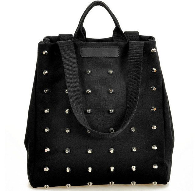 Hotsale women's handbag preppy style punk rivet handbag thickening canvas bag student bag