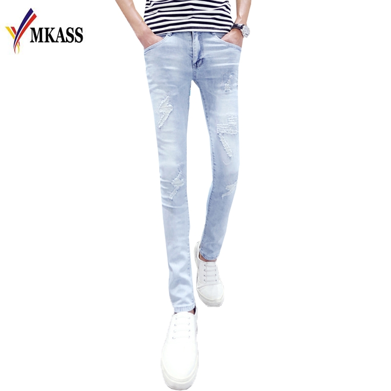 2017 New Arrival Brand  Men Jeans Autumn Winter Fashion Slim Fit Ripped Jeans Men's Skinny Jeans  black navy m xxl quality 2017 spring new arrival ripped jeans for men fashion brand men jeans slim fit jeans men jx01