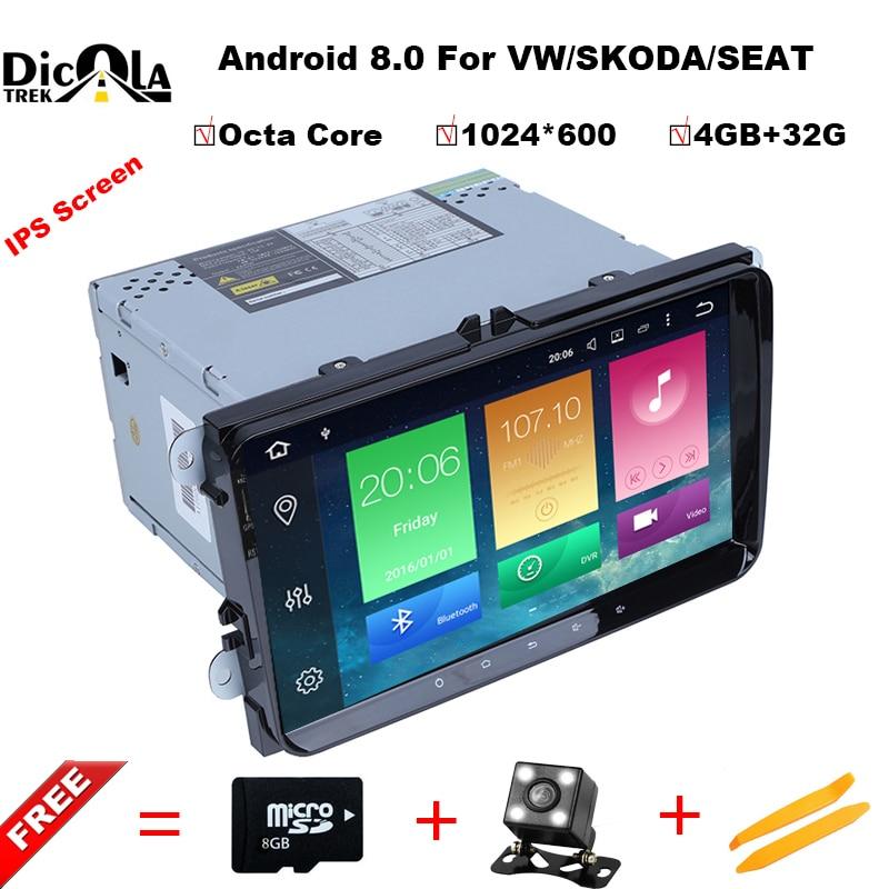 Octa Core 4g + 32g HD IPS 2 din android 8.0 dvd de voiture pour vw passat b5 b6 golf 4 5 tiguan polo skoda octavia rapide voiture radio lecteur