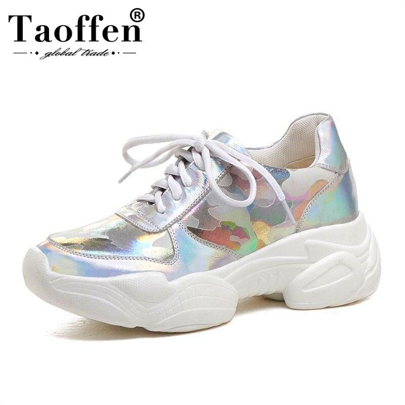 Taoffen semelle épaisse plate-forme baskets femmes en cuir véritable chaussures décontractées en plein air marche chaussures vulcanisées femmes taille 34-39