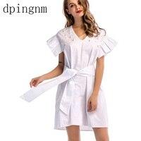 Summer Dress V Neck Stripe Ruffle Vestidos Female Wrap Style Cotton Short Dress Women 2018 Streetwear Casual Dress