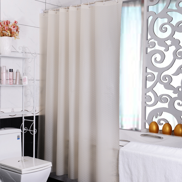 2015 Simple Beige Geometric Patterns Shower Curtain Waterproof Mouldproof Bathroom Curtains With Hooks
