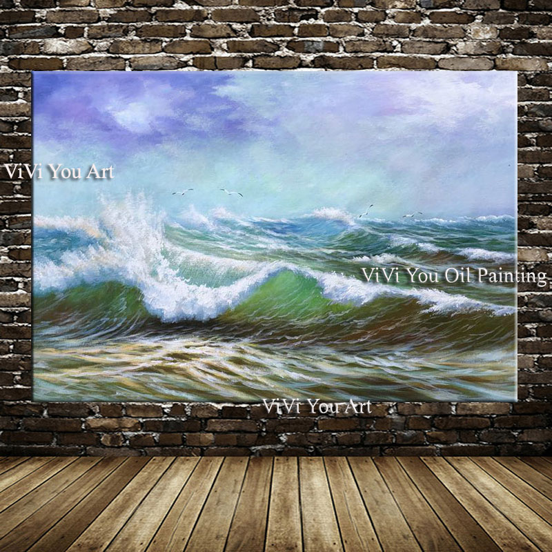 Seascape painting hand painted Sunset Sea Beach Wave Oil Painting on Canvas Ocean oil Modern artwork home Decoration