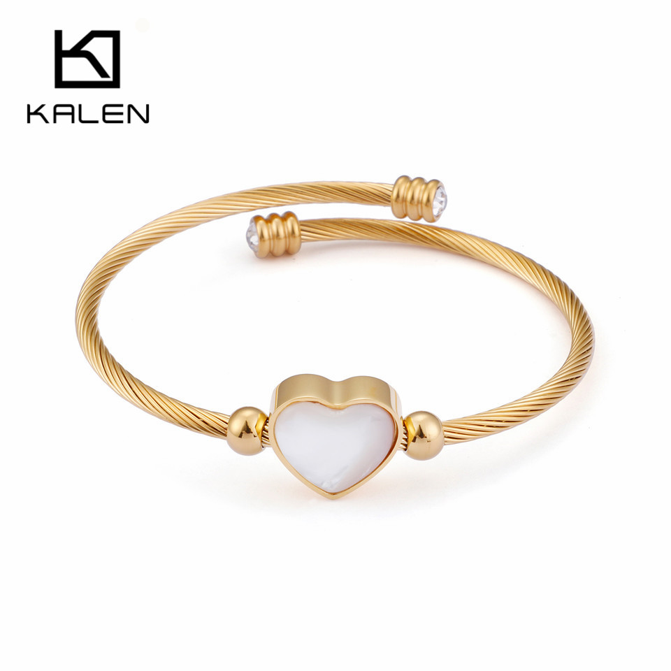 KALEN Fashion Gold Wire Bangle For Women Shell & Zircon & Stainless Steel Adjustable Heart Charm Bangle Bracelet Jewelry Gifts