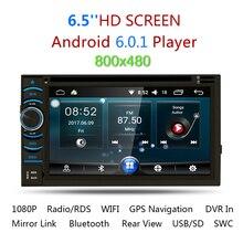 "2017 2Din 6.5 ""HD Android 6.0.1 емкостный Сенсорный экран Quad Core dvd-плеер автомобиля gps-навигация Bluetooth WI-FI SD/ USB/FM/AM"