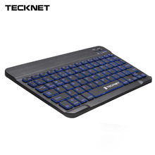 TeckNet 7mm Wireless Bluetooth Keyboard Illuminated Backlit Rechargeable UK Layout Keyboard for iOS Windows Android 3.0 Above OS