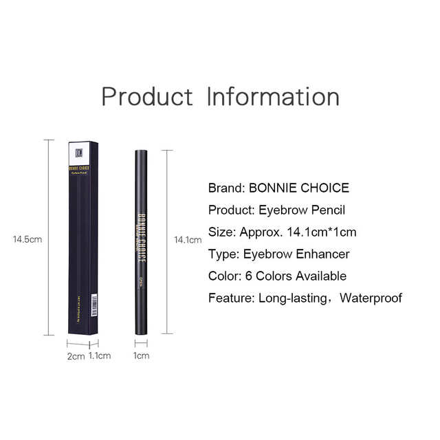 BONNIE CHOICE Eyebrow Pencil Long Lasting Waterproof Automatic Eyebrow Pen Eye Brow Tint +3Pcs Stencils Grooming Kit Makeup Tool 5