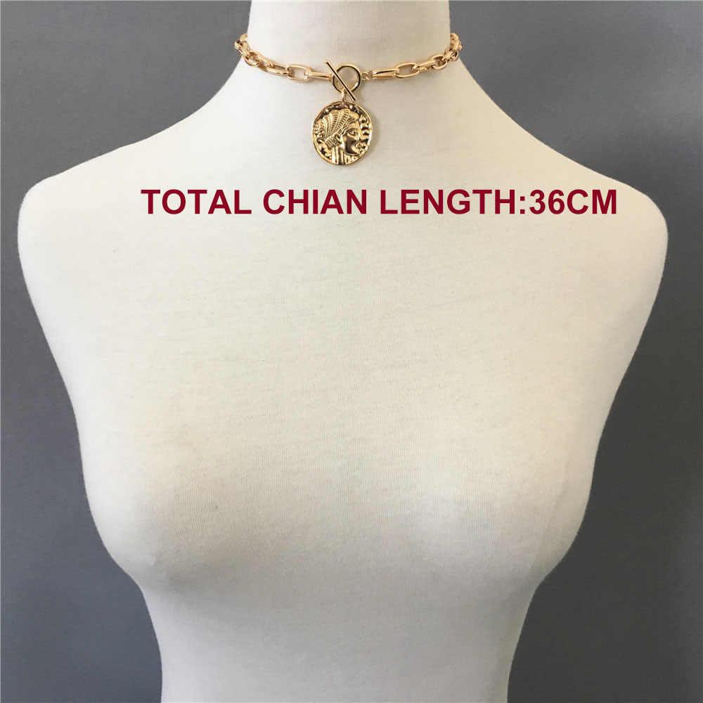 Modny naszyjnik kobiety złoty kolor poszycia duży wisior T BAR CHOKER naszyjnik dla kobiet