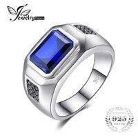 JewelryPalace Erkekler 4.3ct Mavi Düzenlendi Safir Yıldönümü Alyans Hakiki 925 Ayar Gümüş Takı