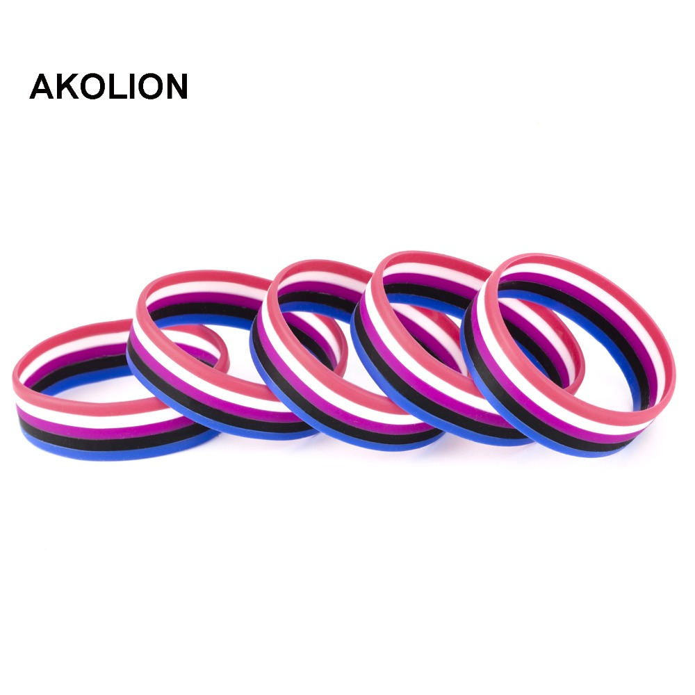 Gender Fluid Pride Silicone Rubber Bracelets Gay Lesbian Wristband Jewelry 100pcs