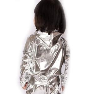 Image 2 - Spring Autumn Kids Silver bomber Jacket Stage Performance Wear paillette feminina casaco Hip Hop dance coat