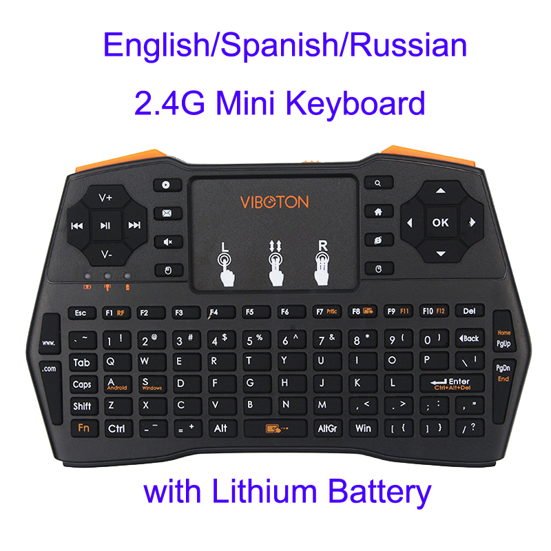 Mini Handheld Keyboard 2.4G Wireless English/Spanish/Russian Touchpad Mouse Gaming Keyboards for Laptop PC Smart TV for RPI 3/2 topmate keyboard and mouse pack 2 4 ghz wireless keyboard and mouse pack qwerty for ipad macbook laptop tv spanish black