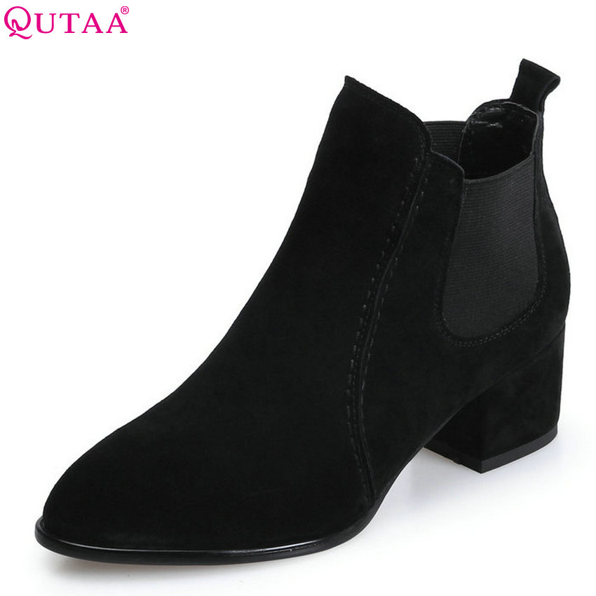 QUTAA 2018 Women Ankle Boots Fashion Elastic Band Pointed Toe Square High Heel Cow Suede All Match Women Boots Size  34-39 qutaa 2017 women over the knee high boots all match pointed toe high quality thin high heel pointed toe women boots size 34 43