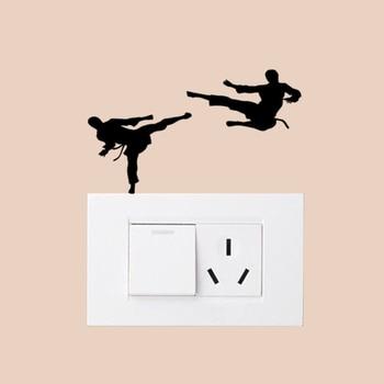 Calcomanía de vinilo deportiva para pared de Karate, calcomanía de interruptor de luz para dormitorio 6SS0398