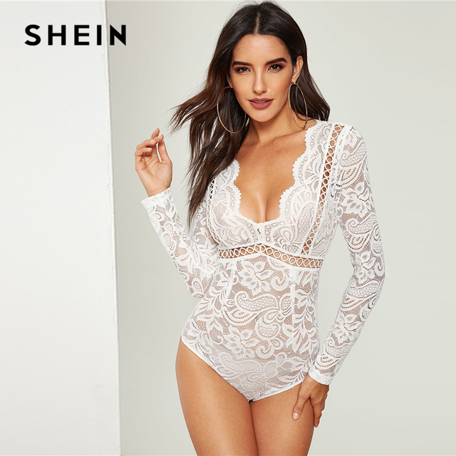 e5a21270e1 SHEIN White Scalloped Plunge Neck Tie Back Lace Hollow Out Bodysuit Women  Solid Sexy Skinny Long