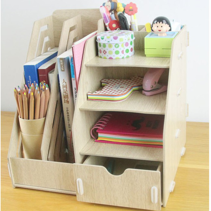 AIYOWEI@YW Wooden Storage Box Jewelry Container Organizer Case Handmade DIY Assembly Document Shelf Rack Offices Organizers S032